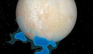Rysunek przedstawia rozmieszczenie pary wodnej wykrytej nad południowym biegunem Europy (księżyca Jowisza).