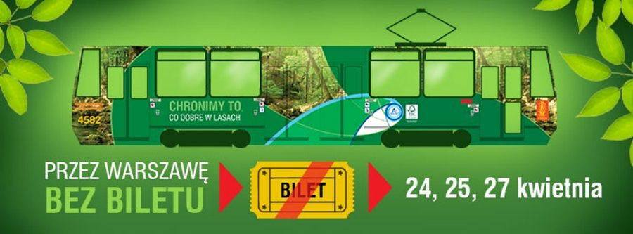 Zielony tramwaj na warszawskich torach