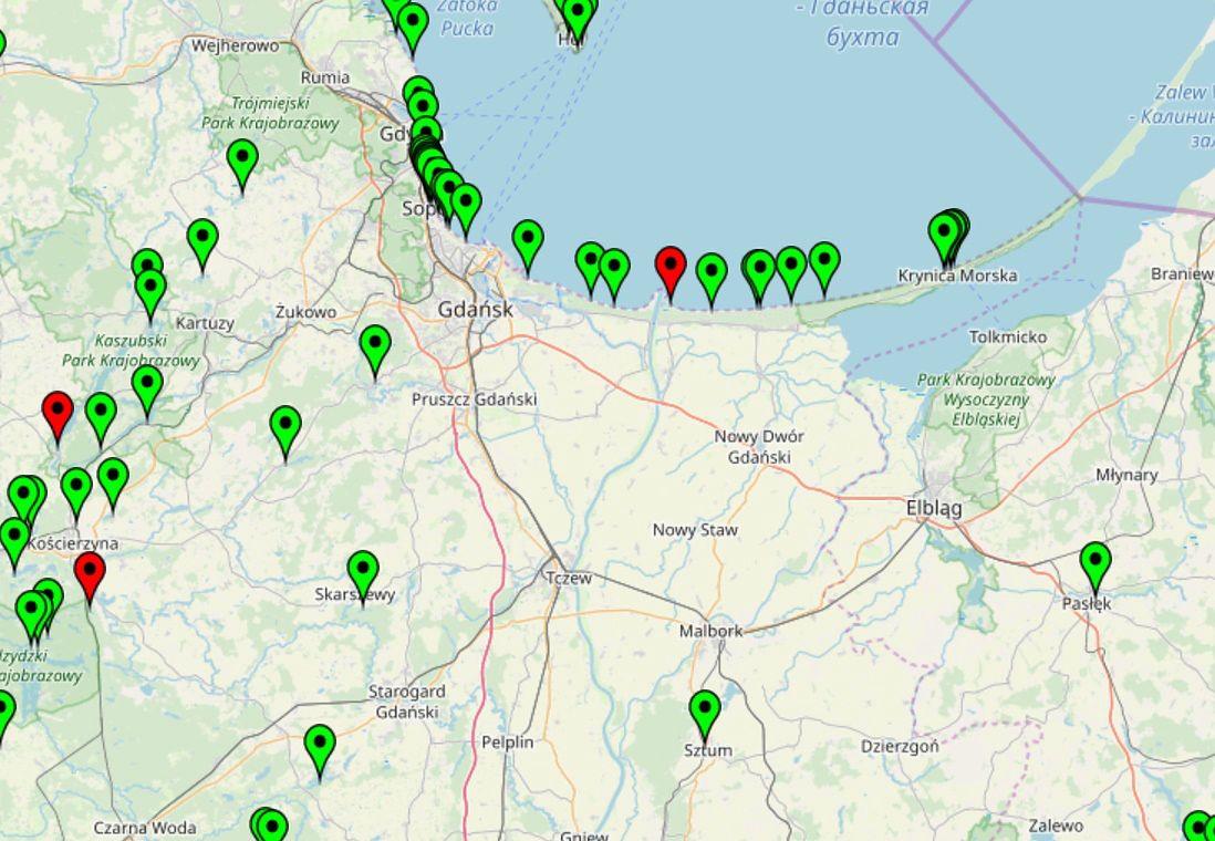 Mapa kąpielisk na stronie GIS