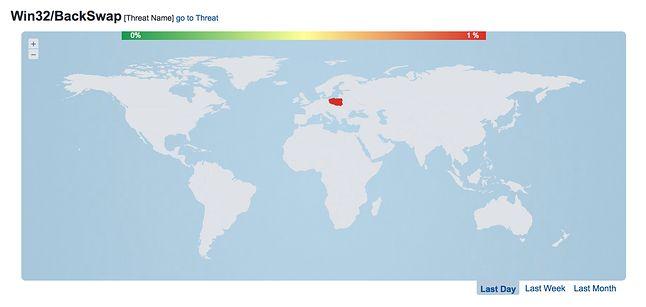 Mapa wystąpowania Win32/BackSwap.A. Jak widać, atak wymierzony jest precyzyjnie w polskich internautów. Źródło: ESET