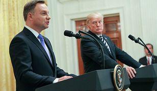 Prezydenci Andrzej Duda i Donald Trump na konferencji prasowej.