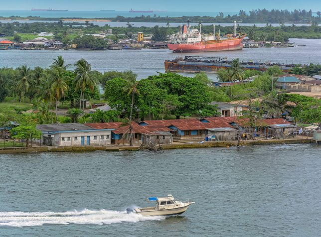African town on the riverside. Lagos, Nigeria, Africa