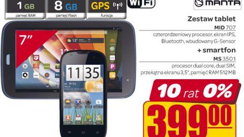 W Carrefourze za 399 zł kupimy tablet i smartfon Manty, w Biedronce telefon za 59 zł