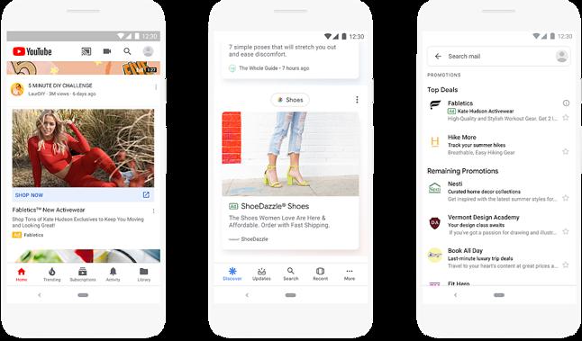 """Nowe reklamy pojawią się między innymi na YouTubie, w wyszukiwarce grafiki i na karcie """"odkrywaj"""" w aplikacji Google, źródło: Blog Google."""