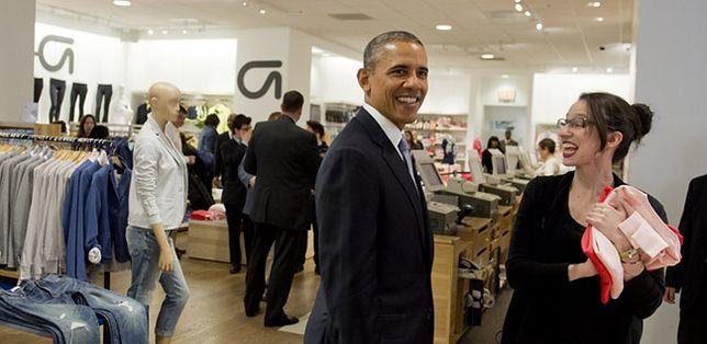 Obama na zakupach w nowojorskim Gapie