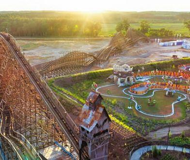 Główną atrakcją parku Majaland pod Torzymiem jest drewniana kolejka górska