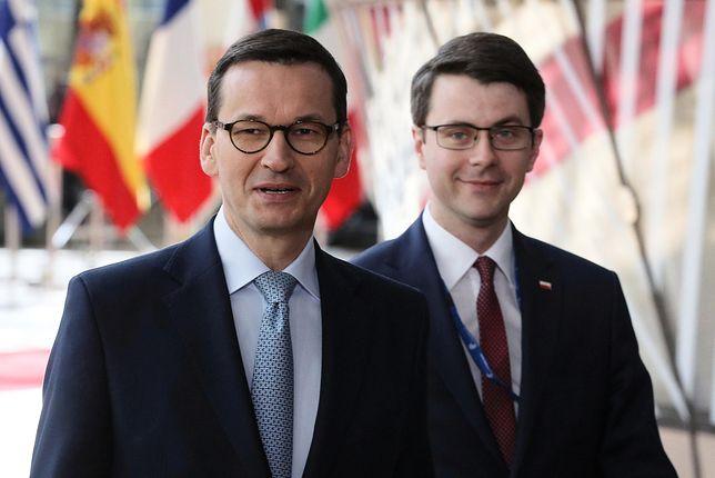 Premier Mateusz Morawiecki i rzecznik rządu Piotr Müller