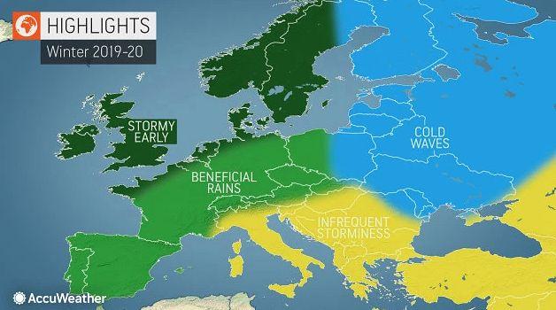 Prognoza pogody na zimę. Cztery strefy nad Europą