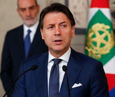 Premier Włoch Giuseppe Conte po spotkaniu z prezydentem Sergio Mattarellim.