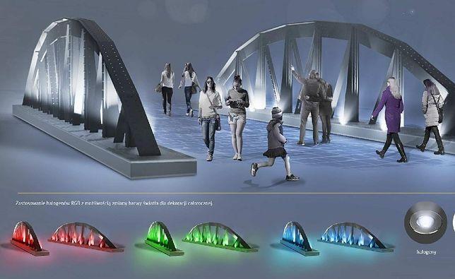 Oświetlenie mostu na rzece Białej w Bielsku-Białej będzie zmieniało kolor.