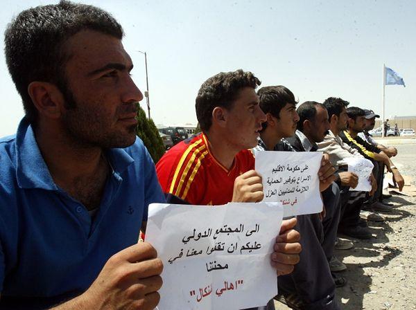 Protest przed siedzibą ONZ w Erbil