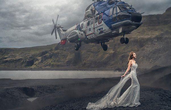 Awaryjne lądowanie podczas sesji ślubnej