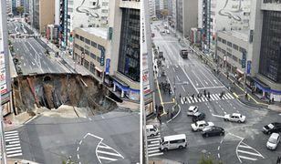 Gigantyczna dziura w jezdni naprawiona w 48 godzin. Tak się buduje w Japonii