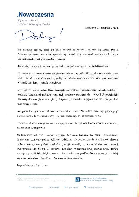 Ryszard Petru w liście otwartym do struktur Nowoczesnej