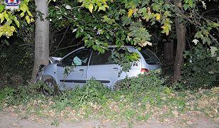 Kierowca chcąc wygonić osę z auta stracił panowanie nad nim i uderzył w drzewo