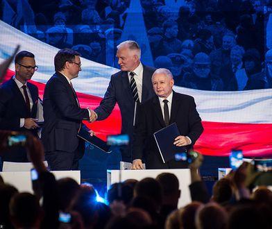 Zjednoczona Prawica: Zbigniew Ziobro, Jarosław Gowin i Jarosław Kaczyński.