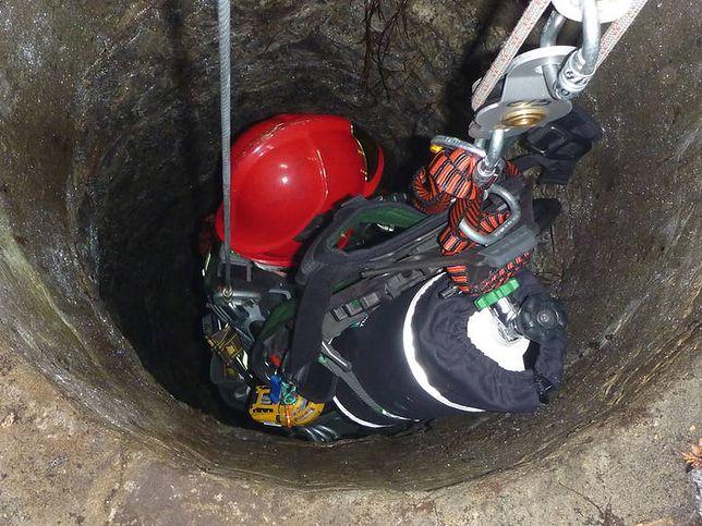 Pies wpadł do 30-metrowej studni. Uratowali go strażacy