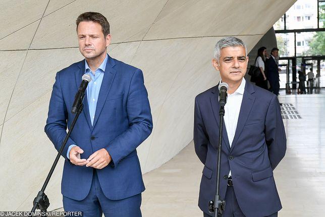 Wizyta burmistrza Londynu Sadiqa Khana w Warszawie. Spotkanie z Rafałem Trzaskowskim i konferencja w Muzeum POLIN