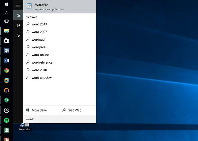 Brak w wynikach Worda 2016, którego ikonę widać na pasku