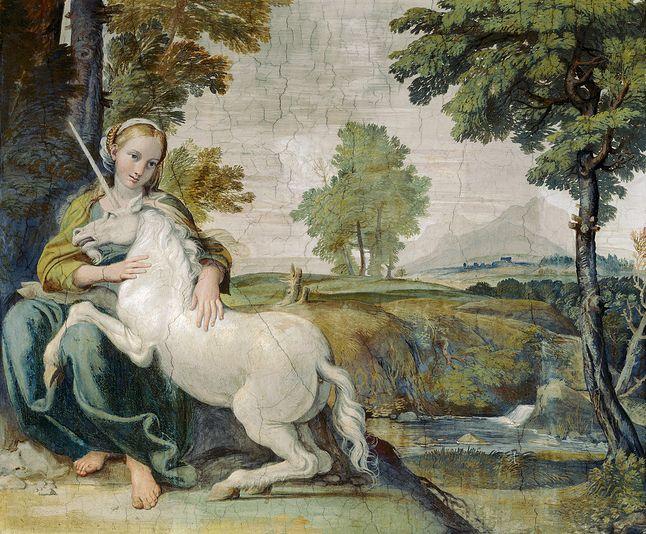 Dziewica oswajająca jednorożca, Domenico Zampieri, 1602 rok. Czy Crispr/Cas9 pozwoli na stworzenie mitycznych istot?