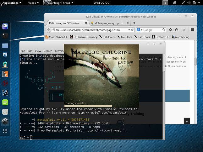 Pulpit GNOME 3.14 nowego wydania Kali Linuksa