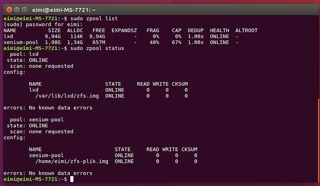Dwie pule ZFS w systemie, jedną zrobił sobie sam menedżer kontenerów LXD
