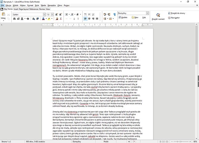 LibreOffice Writer z eksperymentalnym interfejsem NotebookBar