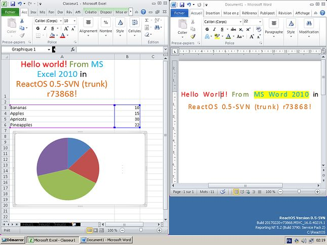 Excel i Word z Office'a 2010 na ReactOS-ie