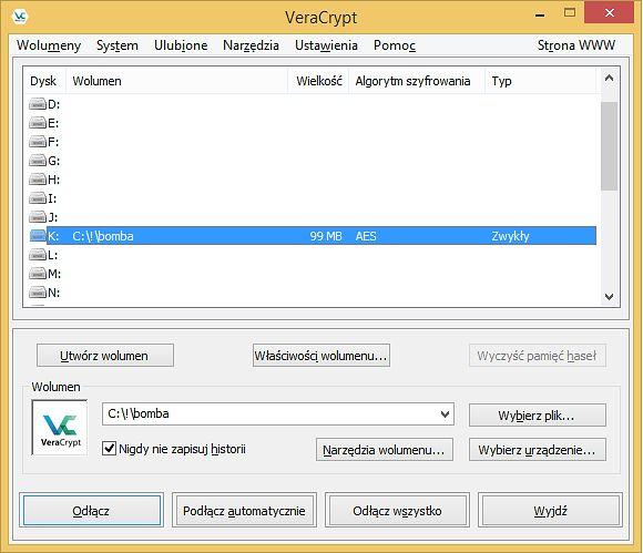 Zaszyfrowany kontener jako dysk K: w systemie Windows