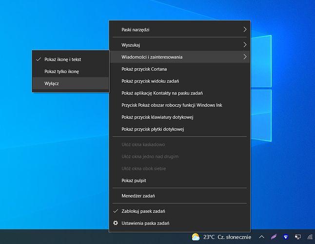 """Ustawienia """"wiadomości i zainteresowań"""" w Windows 10"""
