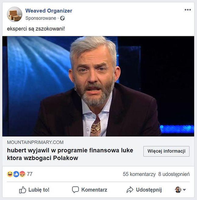 Jeden z licznych przykładów reklamy fałszywego artykułu (Facebook, fot. Piotr Urbaniak)
