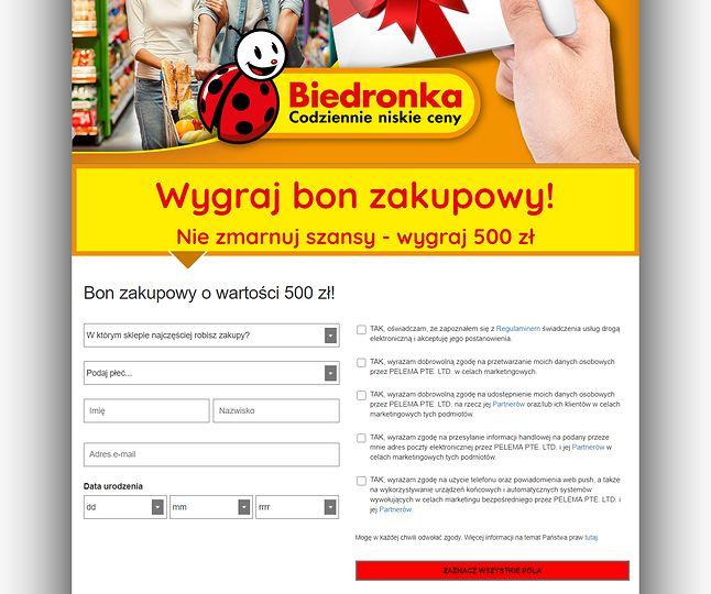 Spreparowana strona, na której użytkownik nakłaniany jest do wyrażenia szeregu zgód marketingowych, fot. Oskar Ziomek.