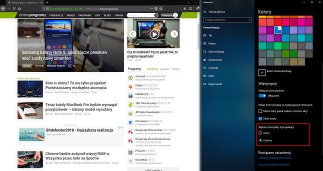 Firefox sam zmieni motyw przeglądarki zależnie od globalnych ustawień kolorów w Windows 10.