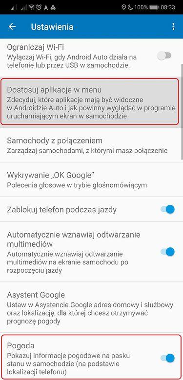 W ustawieniach Androida Auto można już zdecydować o Pogodzie i ikonach w menu głównym.