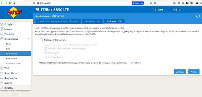 Router FRITZ!Box 6850 LTE - zdalne USB