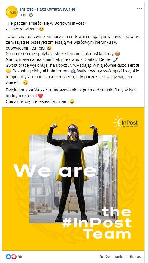 Źródło: oficjalny profil Facebook InPost - Paczkomaty, Kurier