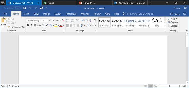 Karty Sets podczas korzystania z programów Office'a 365. Źródło: Windows Blogs.