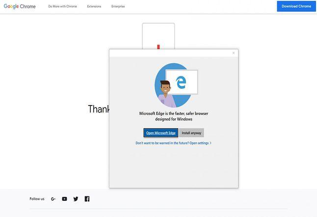 Proponowane przez Microsoft okienko zniechęcające do instalacji innej niż Edge przeglądarki, fot. BetaNews