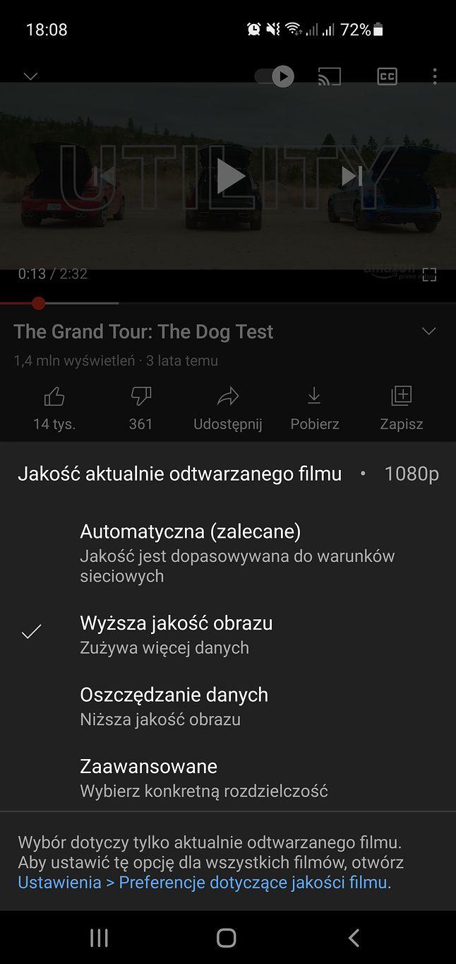 Ustawienia rozdzielczości filmów w aplikacji YouTube.
