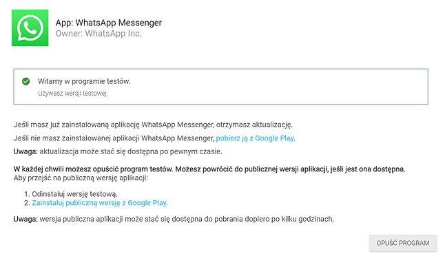 Aby korzystać z testowego WhatsAppa, trzeba dołączyć do grona betatesterów, tu na przykładzie Androida, źródło: Sklep Play.