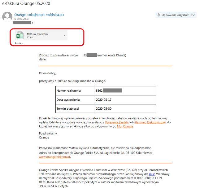 Fałszywy e-mail na pierwszy rzut oka może przypominać prawdziwą wiadomość od Orange, fot. Barnaba Siegel.
