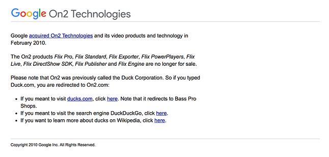 Gdy o sprawie zrobiło się głośno, Google zaczęło wyświetlać informację o DuckDuckGo. Wcześniej duck.com przekierowywało bezpośrednio do wyszukiwarki Google.