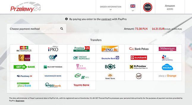 Lista banków obsługiwanych przez Przelewy24 podczas zakupów na Amazon.de