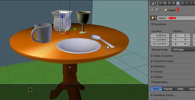 Ustawianie zastawy na stole i nazywanie obiektów
