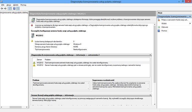 Diagnostyka licencjonowania usług pulpitu zdalnego