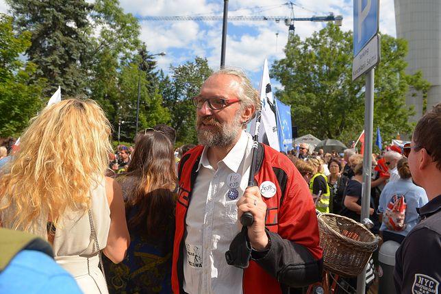 Mateusz Kijowski na proteście