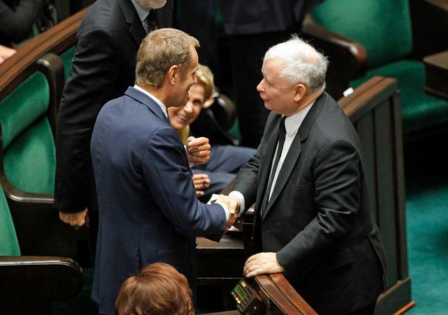 Donald Tusk i Jarosław Kaczyński w Sejmie jesienią 2014 r.