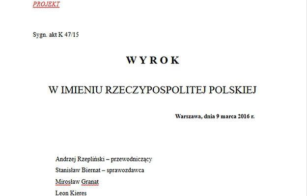 wPolityce.pl opublikował projekt orzeczenia TK ws. nowelizacji ustawy autorstwa PiS