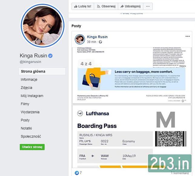 Problematyczny wpis Kingi Rusin na Facebooku