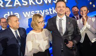 Rafał i Małgorzata Trzaskowscy podczas wieczoru wyborczego wyborów samorządowych w 2018 roku